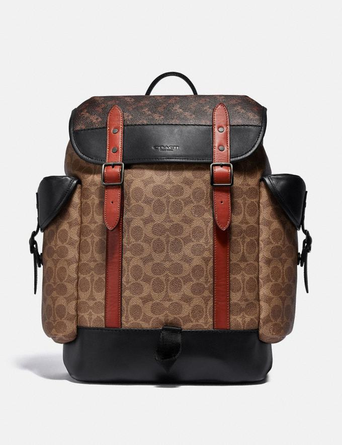 Coach Hitch Backpack in Signature Canvas With Horse and Carriage Print Black Copper/Truffle Multi Men Bags Backpacks