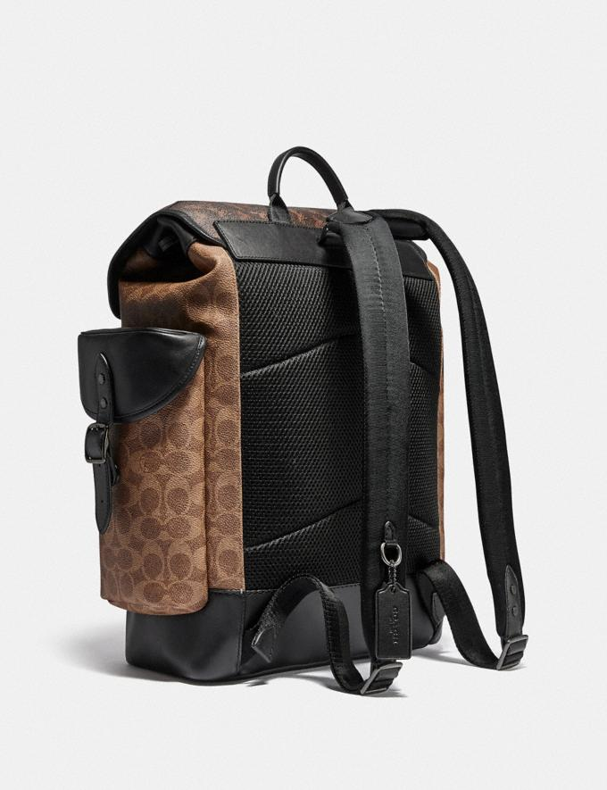 Coach Hitch Backpack in Signature Canvas With Horse and Carriage Print Black Copper/Truffle Multi Men Bags Backpacks Alternate View 1