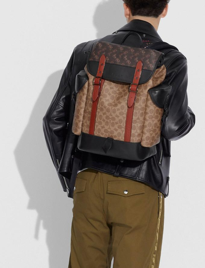Coach Hitch Backpack in Signature Canvas With Horse and Carriage Print Black Copper/Truffle Multi Men Bags Backpacks Alternate View 3