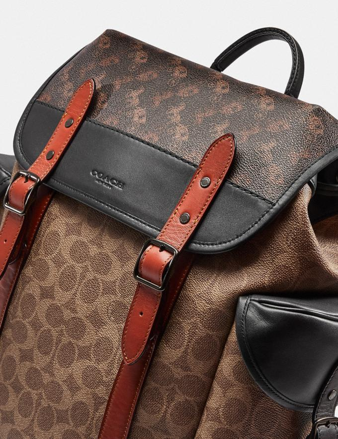 Coach Hitch Backpack in Signature Canvas With Horse and Carriage Print Black Copper/Truffle Multi Men Bags Backpacks Alternate View 4