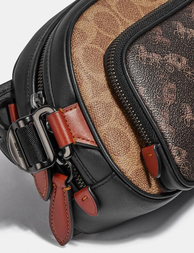 Coach Hitch Belt Bag in Signature Canvas With Horse and Carriage Print Black Copper/Truffle Multi Men Bags Belt Bags Alternate View 4