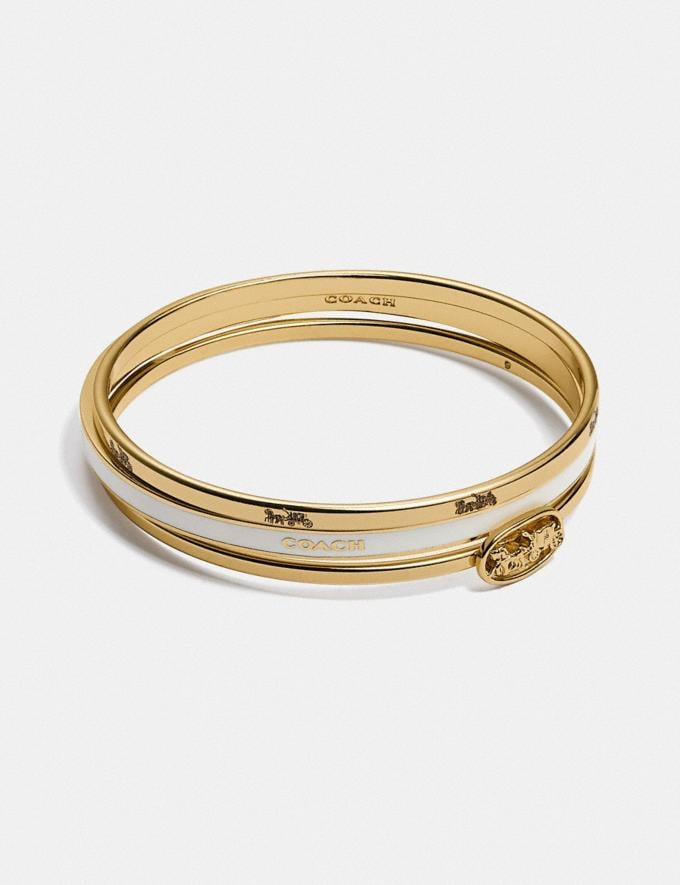 Coach Horse and Carriage Bangle Set Gold/Chalk null