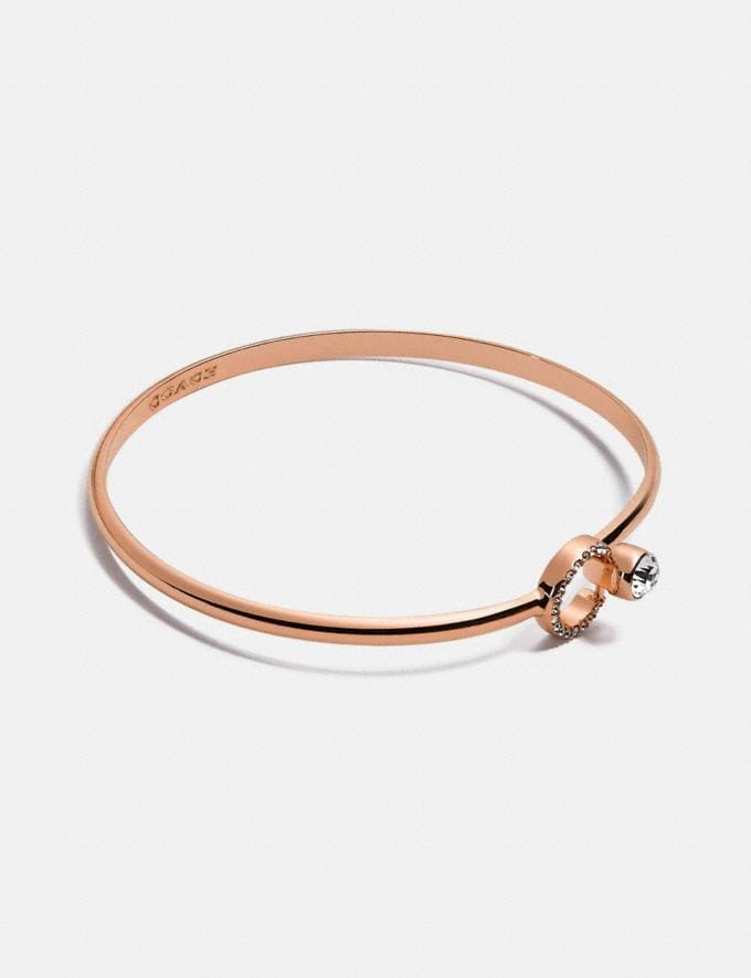 Coach Halo Pave Bangle Rose Gold null