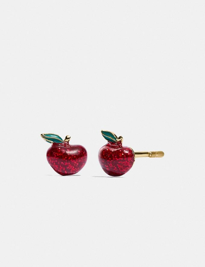 Coach Boxed Glitter Apple Stud Earrings Gold/Red Gift For Her Under €100