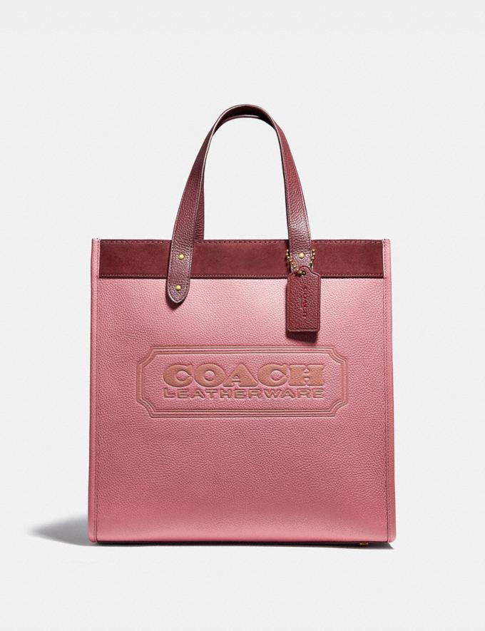 Coach Field Tote in Colorblock With Coach Badge Brass/Vintage Pink Multi New Women's New Arrivals Bags