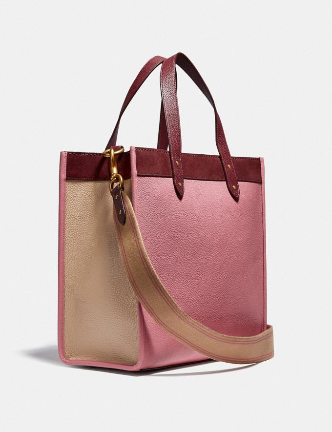Coach Field Tote in Colorblock With Coach Badge Brass/Vintage Pink Multi New Women's New Arrivals Bags Alternate View 1