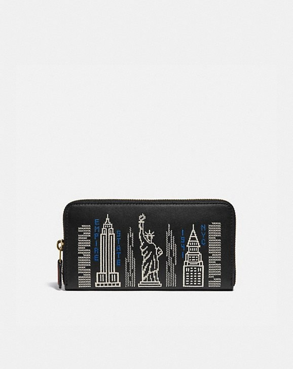 Coach ACCORDION ZIP WALLET WITH STARDUST CITY SKYLINE EMBROIDERY