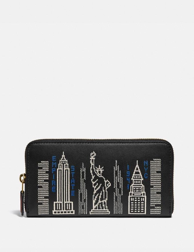 Coach Accordion Zip Wallet With Stardust City Skyline Embroidery B4/Black Gifts For Her Under £500
