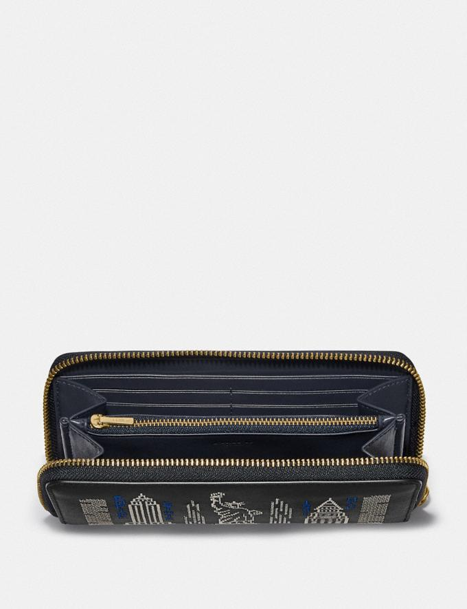 Coach Accordion Zip Wallet With Stardust City Skyline Embroidery B4/Black Gifts For Her Under £500 Alternate View 1