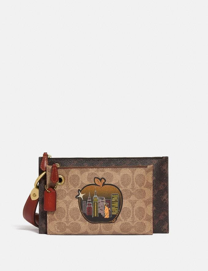 Coach Double Slim Wristlet in Signature Canvas With Horse and Carriage Print and Big Apple Skyline B4/Tan Truffle Multi Women Small Leather Goods Wristlets