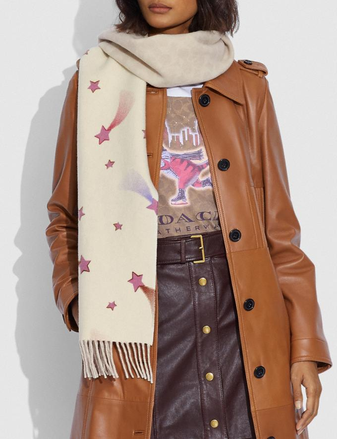 Coach Reversible Signature Disco Star Print Muffler Chalk Women Accessories Scarves and Gloves Alternate View 1