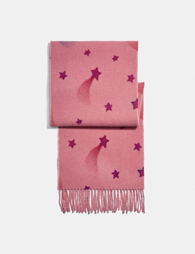 Coach Reversible Signature Disco Star Print Muffler Pink Women Accessories Scarves and Gloves