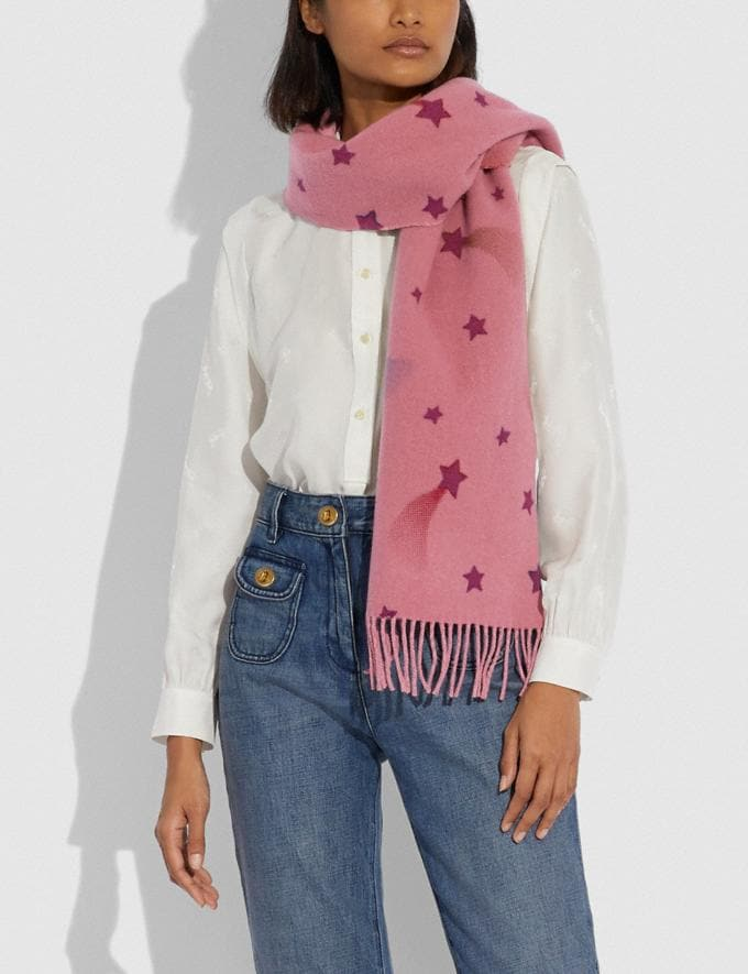 Coach Reversible Signature Disco Star Print Muffler Pink Women Accessories Scarves and Gloves Alternate View 1