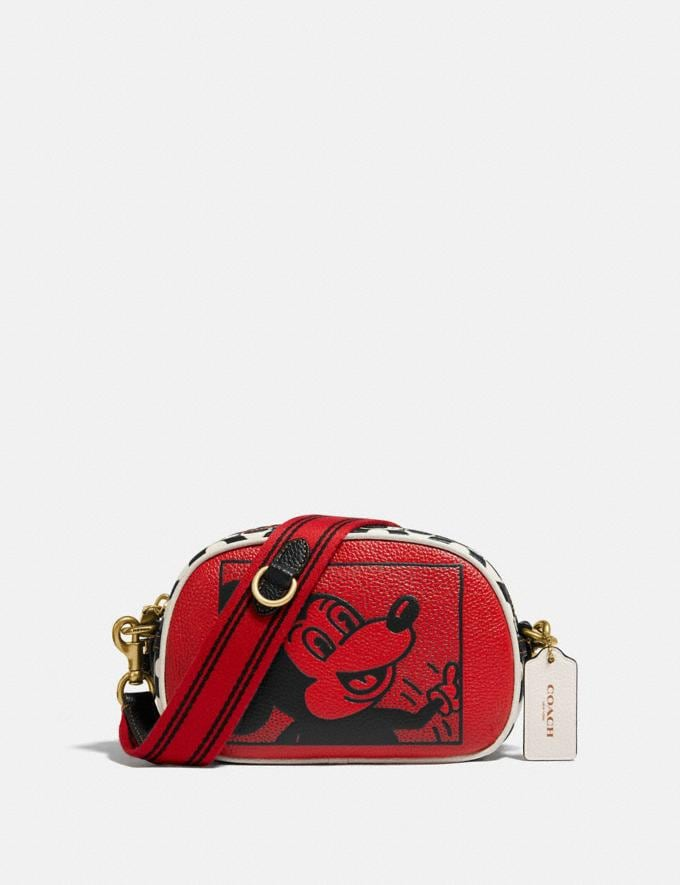 Coach Disney Mickey Mouse X Keith Haring Badge Camera Crossbody B4/Electric Red Multi Women Bags Crossbody Bags