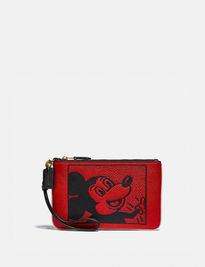 Coach Disney Mickey Mouse X Keith Haring Small Wristlet Brass/Electric Red New Featured Mickey x Keith Haring