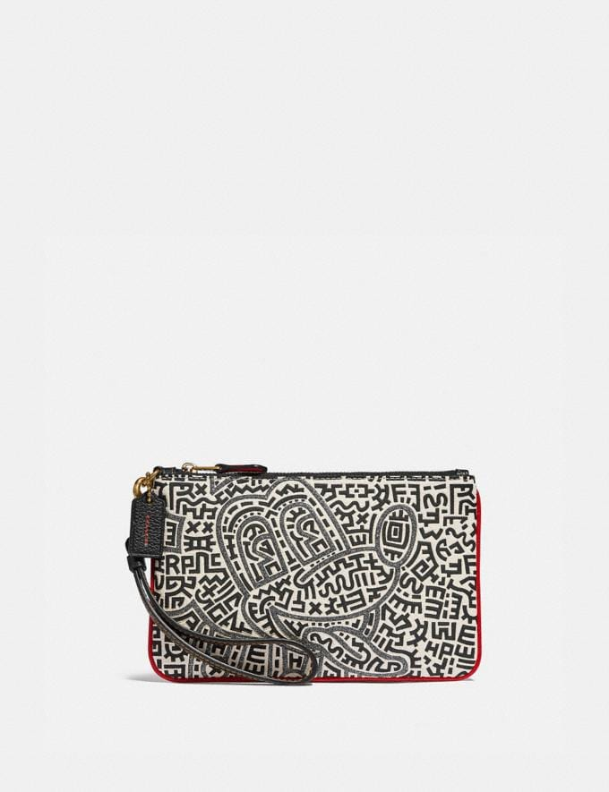 Coach Disney Mickey Mouse X Keith Haring Small Wristlet B4/Chalk Women Small Leather Goods Wristlets