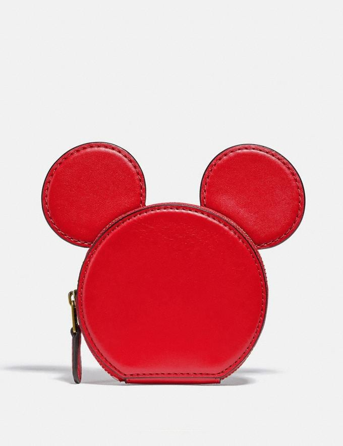 Coach Disney Mickey Mouse X Keith Haring Coin Case B4/Electric Red Women Small Leather Goods Small Wallets