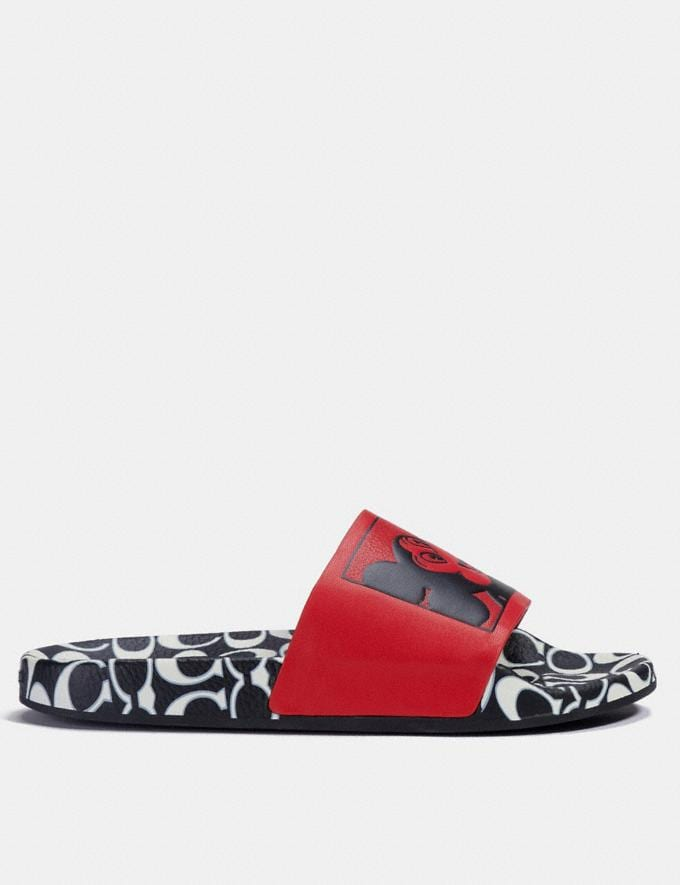 Coach Disney Mickey Mouse X Keith Haring Slide White/Black Women Shoes Flats Alternate View 1