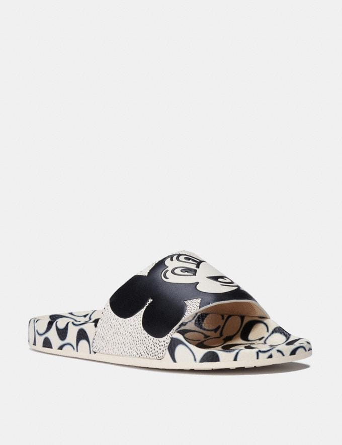 Coach Disney Mickey Mouse X Keith Haring Slide White/Black Women Shoes Flats