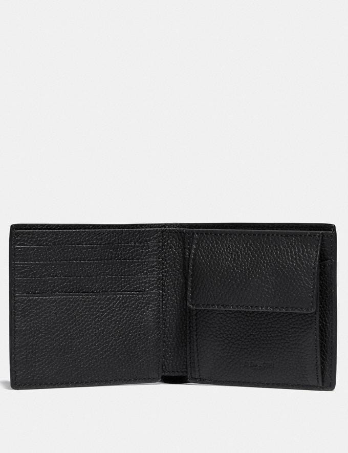 Coach Coin Wallet in Signature Leather Black Men Wallets Coin Cases Alternate View 1