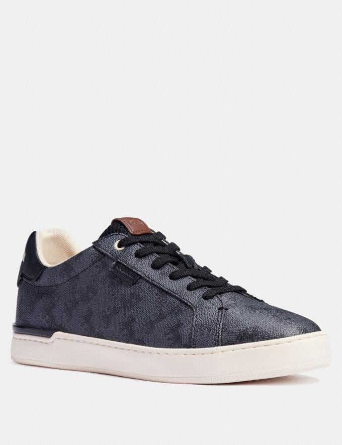Coach Lowline Low Top Sneaker With Horse and Carriage Print Blue Steel