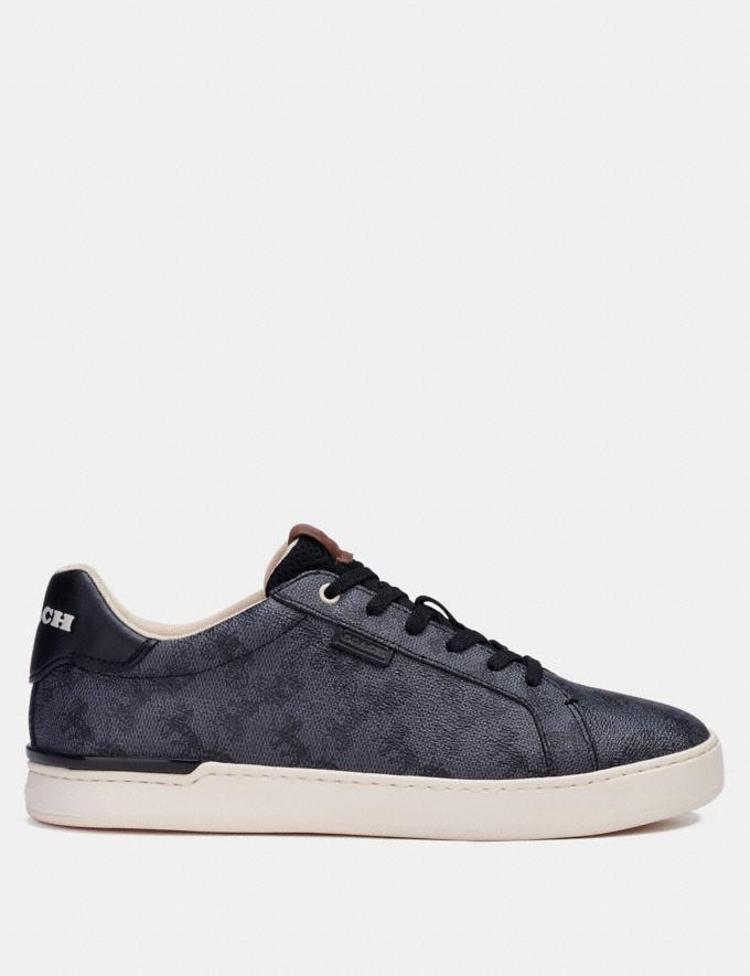 Coach Lowline Low Top Sneaker With Horse and Carriage Print Blue Steel  Alternate View 1