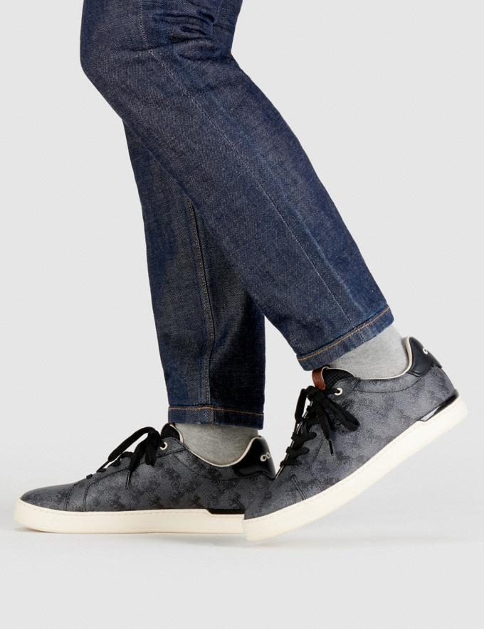 Coach Lowline Low Top Sneaker With Horse and Carriage Print Blue Steel  Alternate View 4