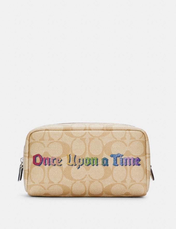 Coach Disney X Coach Small Boxy Cosmetic Case in Signature Canvas With Once Upon a Time Sv/Khaki Multi DEFAULT_CATEGORY