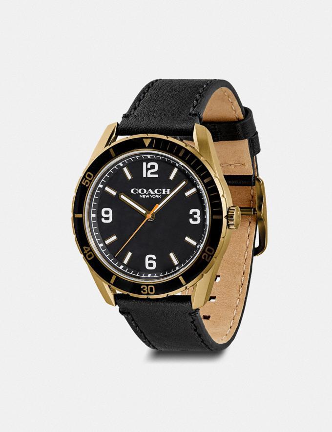 Coach Preston Watch, 44mm Black/Khaki Ip Men Accessories Watches Alternate View 1