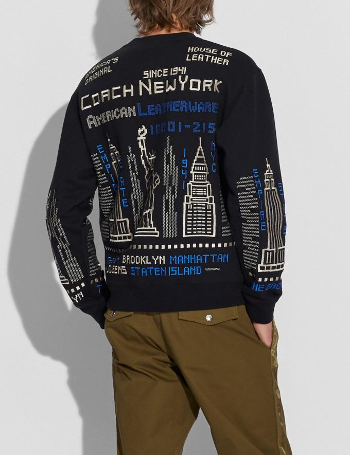 Coach Cityscape Crewneck Sweatshirt Black Multi Men Ready-to-Wear Tops & Bottoms Alternate View 2