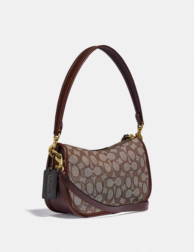 Coach Swinger Bag in Signature Jacquard With Apple B4/Oak Maple  Alternate View 1
