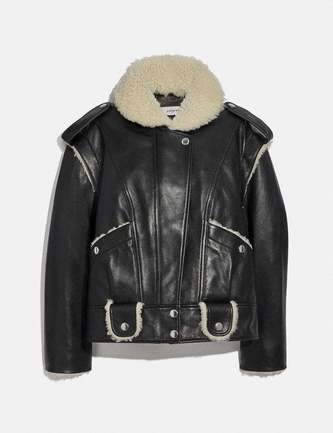 Coach Leather Shearling Jacket Black