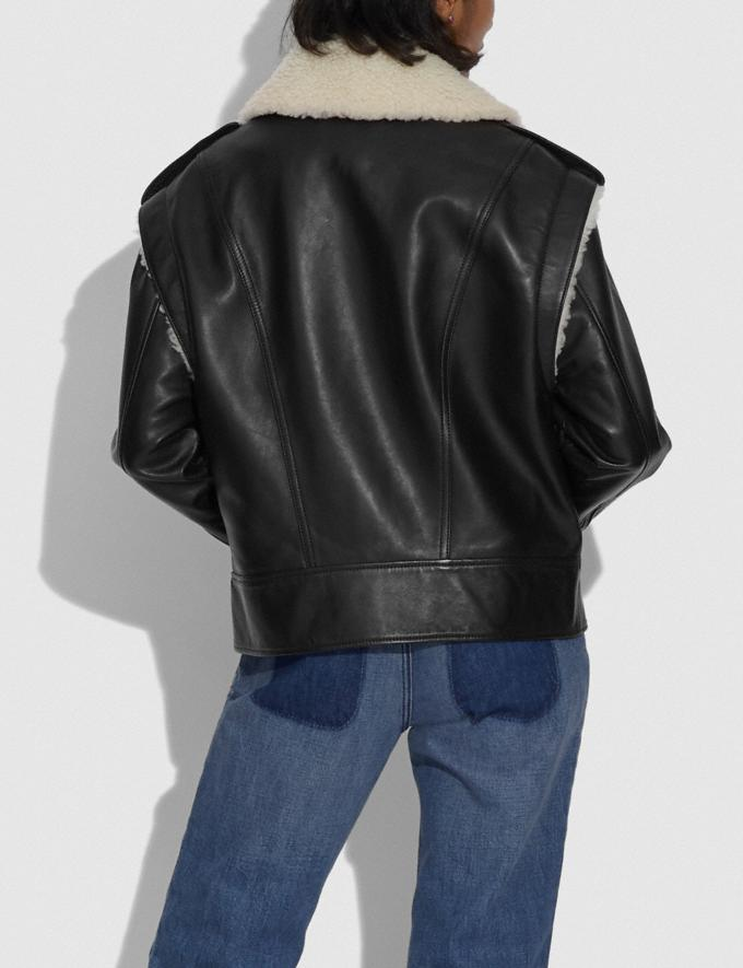 Coach Leather Shearling Jacket Black  Alternate View 2
