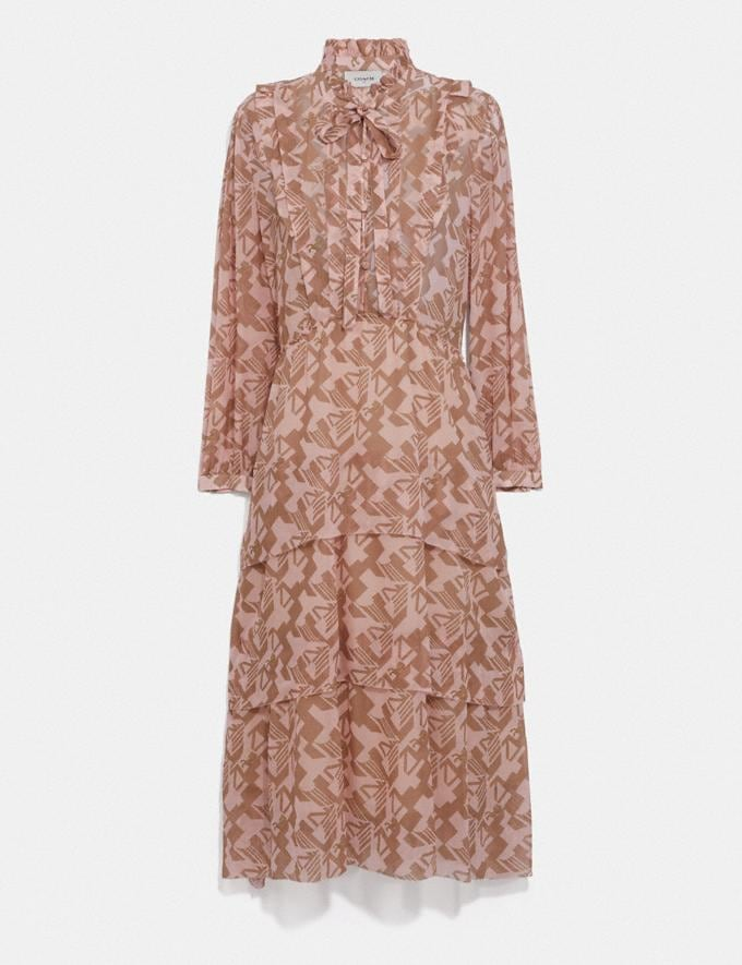 Coach Georgette Ruffle Dress Pink/Tan Women Ready-to-Wear Dresses