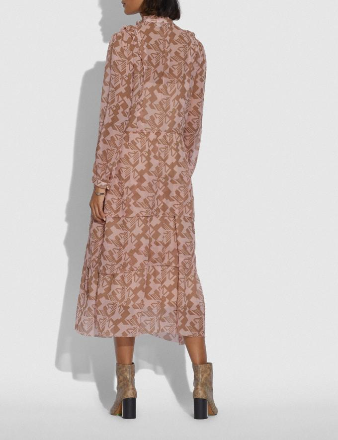 Coach Georgette Ruffle Dress Pink/Tan Women Ready-to-Wear Dresses Alternate View 2