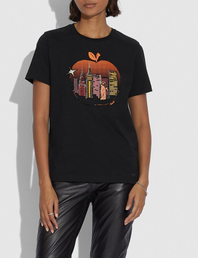 Coach T-Shirt Mit Apfel Und Skyline Schwarz Damen Kleidung Oberteile & T-Shirts Alternative Ansicht 1