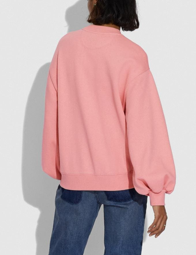 Coach Rexy City Skyline Sweatshirt With Puff Sleeve Dark Pink Women Ready-to-Wear Knitwear & Sweatshirts Alternate View 2