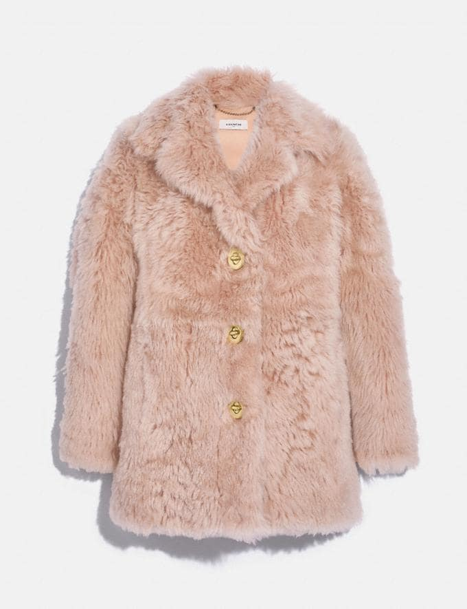 Coach Shearling Coat With Turnlocks Dusty Pink Women Ready-to-Wear Coats & Jackets