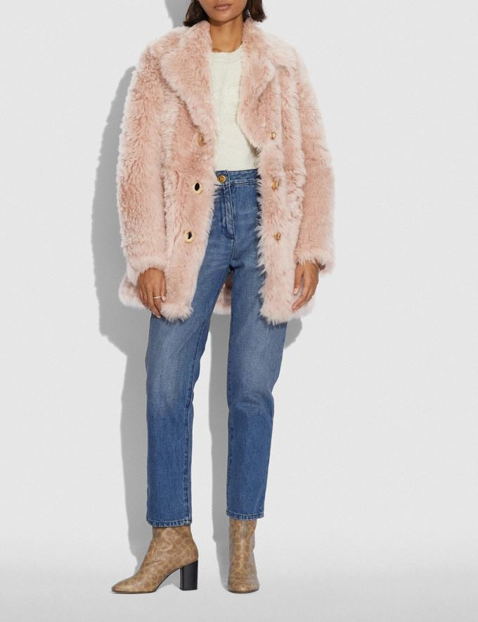 Coach Shearling Coat With Turnlocks Dusty Pink Women Ready-to-Wear Coats & Jackets Alternate View 1
