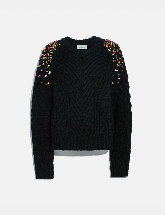 Coach Holiday Embellished Crewneck Black Women Ready-to-Wear Knitwear & Sweatshirts
