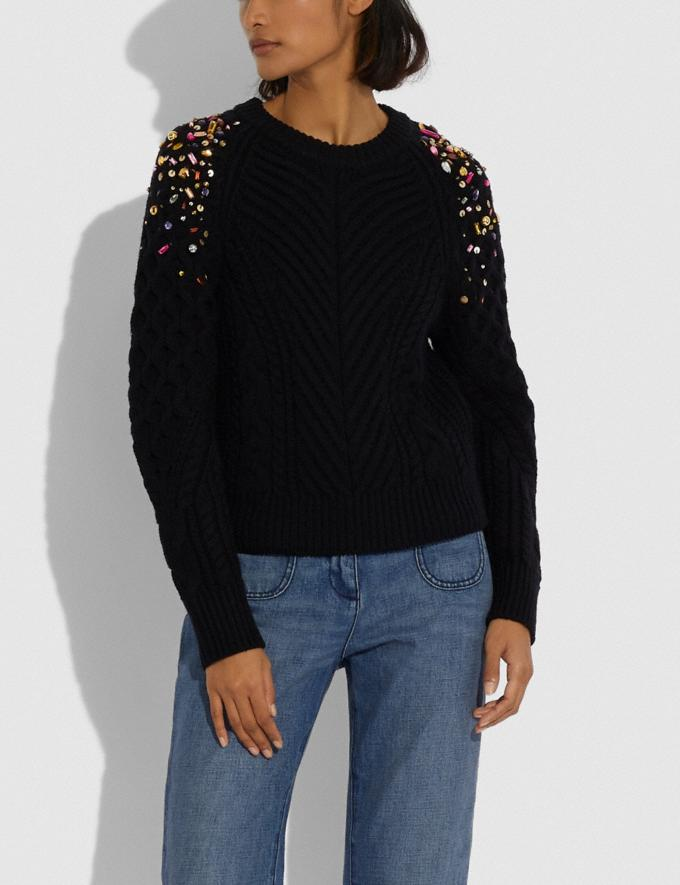 Coach Holiday Embellished Crewneck Black Women Ready-to-Wear Knitwear & Sweatshirts Alternate View 1