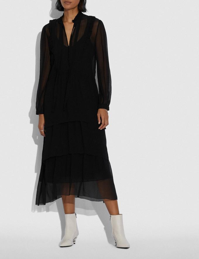 Coach Crepon Ruffle Dress Black Women Ready-to-Wear Dresses Alternate View 1