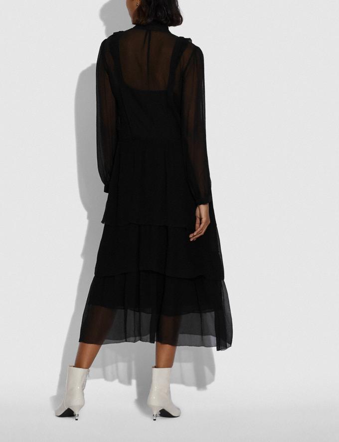 Coach Crepon Ruffle Dress Black Women Ready-to-Wear Dresses Alternate View 2
