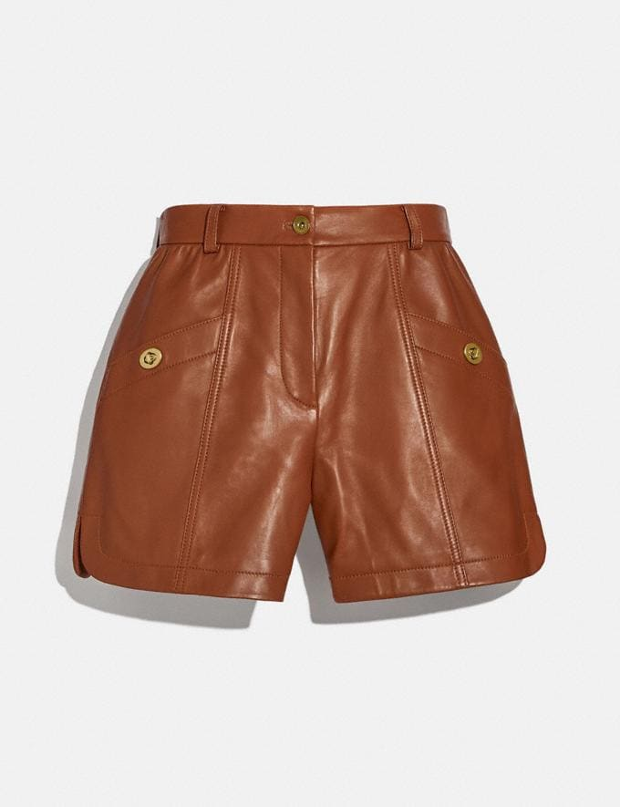 Coach Leather Shorts Saddle Women Ready-to-Wear Bottoms