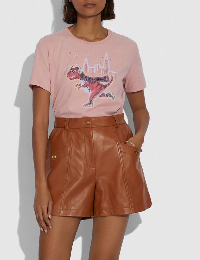 Coach Leather Shorts Saddle Women Ready-to-Wear Bottoms Alternate View 1