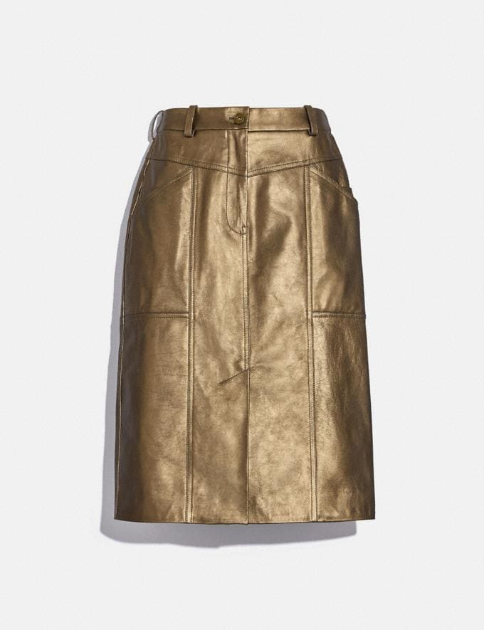 Coach Metallic Leather Midi Skirt Pyrite Women Ready-to-Wear Bottoms