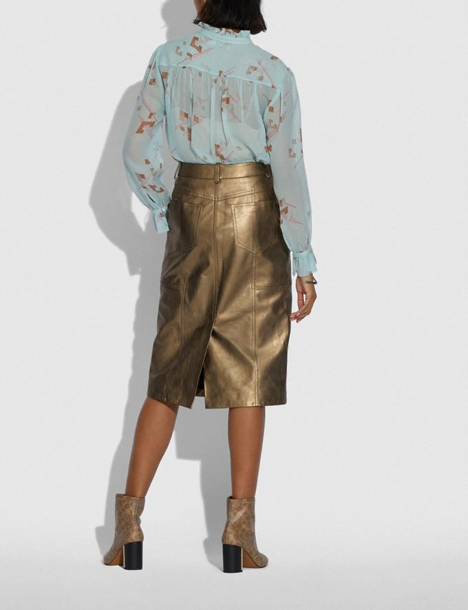 Coach Metallic Leather Midi Skirt Pyrite Women Ready-to-Wear Bottoms Alternate View 2