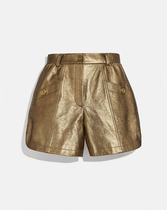 SHORTS AUS METALLIC-LEDER