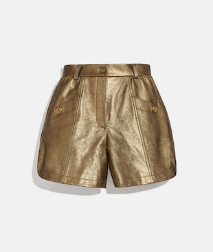 METALLIC LEATHER SHORTS