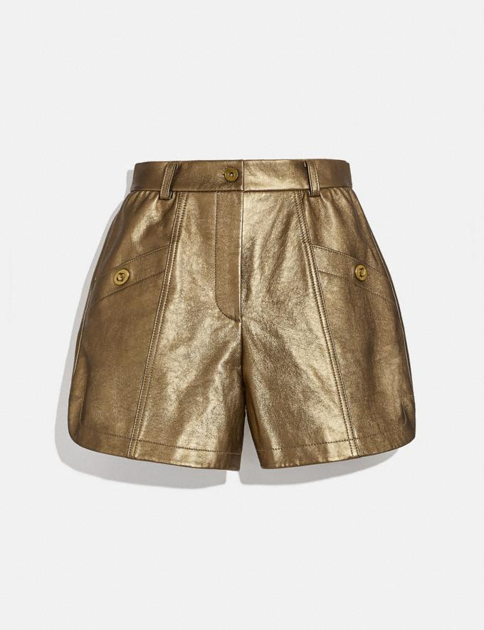 Coach Metallic Leather Shorts Pyrite Women Ready-to-Wear Bottoms